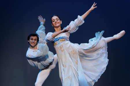 St. Petersburg, Russia - November 16, 2017: Soloists of Novosibirsk Opera and Ballet Theater Anna Germizeeva and Nikolay Maltsev perform during gala concert of Oleg Vinogradov. Great choreographer celebrated his 80th anniversary