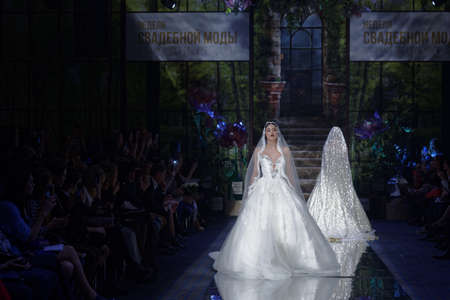 St. Petersburg, Russia - November 17, 2017: Gala fashion parade during second day of St. Petersburg Bridal Fashion Week. 16 fashion collections participated in the Week this year