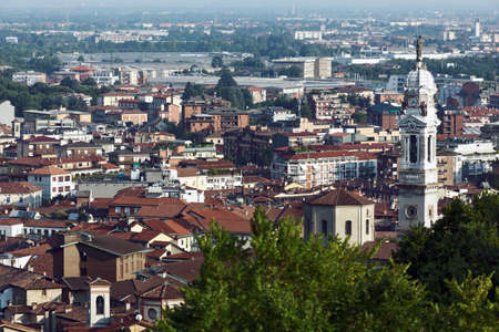 Bergamo, Italy - June 11, 2017: Aerial view to Citta Bassa, the Lower City, which is a lively financial centre of national importance. About a quarter of Italys GDP is produced in Bergamos northern region of Lombardy Editorial