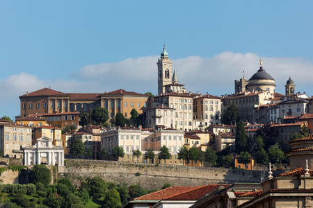 View to Citta Alta in Begramo, Italy in a summer morning