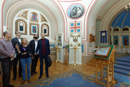 St. Petersburg, Russia - August 30, 2017: People in the Home Church of Yusupov palace. The palace was erected in the late XVIII century, and now it acclaimed as the Encyclopedia of St. Petersburg aris 에디토리얼