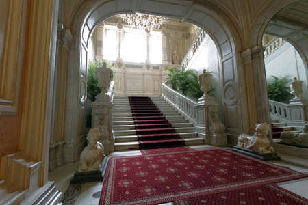 St. Petersburg, Russia - August 30, 2017: Main staircase of Yusupov palace. The palace was erected in the late XVIII century, and now it acclaimed as the 에디토리얼