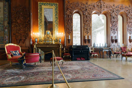 St. Petersburg, Russia - August 30, 2017: Interior of musical drawing room in Yusupov palace. The palace was erected in the late XVIII century, and now it acclaimed as the Encyclopedia of St. Petersbu 에디토리얼