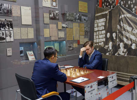 St. Petersburg, Russia - December 4, 2017: Match Maxim Matlakov (right) vs Sanan Sjugirov during super finals of 70th Russian mens chess championship. The match ended in a draw