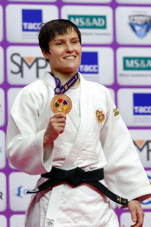 St. Petersburg, Russia - December 16, 2017: Natalia Kuziutina, Russia during award ceremony of Judo World Masters 2017. Kuziutina won gold medal in Women U52