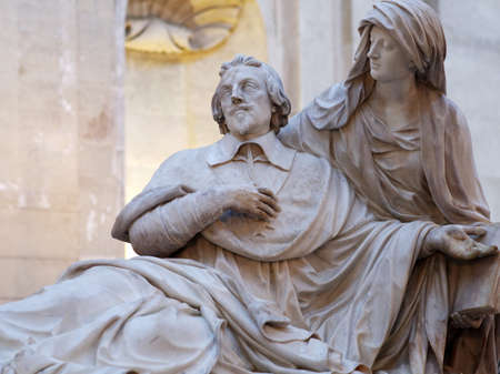 Paris, France - September 14, 2013: Richelieus marble cenotaph in the Chapelle de la Sorbonne. The monument created by Francois Girardon in 1694