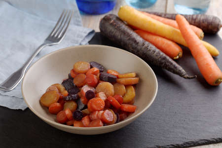Carrots Vichy  of various colors Stock Photo