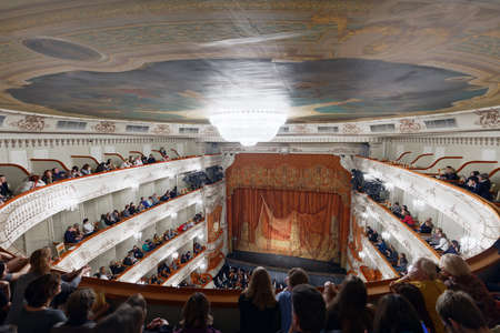 St. Petersburg, Russia - October 27, 2017: People in the Mikhailovsky theater waiting for the begin of performance. The theater was built in 1833, renamed in Soviet era, and regain the historical name in 2001
