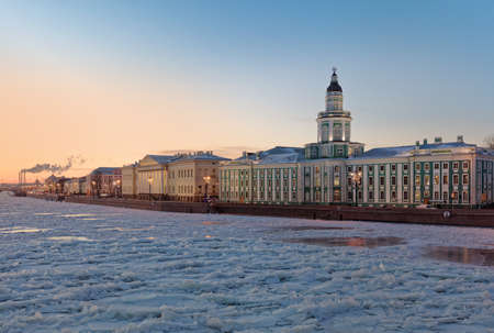Building of Kunstkamera in St. Petersburg, Russia in winter. Built in 1727, it is the first Russian museum