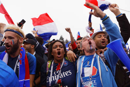 St. Petersburg, Russia - July 10, 2018: French football fans singing at Saint-Petersburg stadium before the semifinal match of FIFA World Cup Russia 2018 France vs Belgium. Editorial