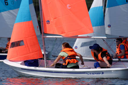 St. Petersburg, Russia - August 12, 2017: Amateur sailing competitions on Upper Suzdal lake. The competitions aimed to popularize the healthy lifestyle and water sports Editöryel
