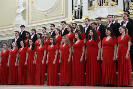 Saint-Petersburg, Russia - February 25, 2018: Academic Choir of the Gnessins Musical College, Moscow, Russia, performs during V Children and Youth World Choral Championship. First championship was held in Hong Kong in 2011
