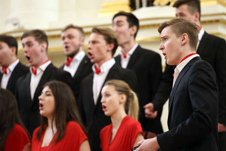 Saint-Petersburg, Russia - February 25, 2018: Academic Choir of the Gnessins Musical College, Moscow, Russia, performs during V Children and Youth World Choral Championship. First championship was held in Hong Kong in 2011 Redactioneel