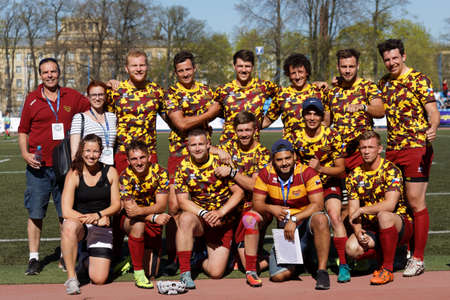 St. Petersburg, Russia - May 12, 2018: Group photo of RC Dukla, Praha, Czech Republic after the match against RC Miesnieki, Latvia during Rugby Europe Sevens Club Champions Trophy. Dukla won 26-10 Editorial