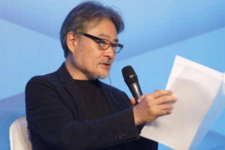St. Petersburg, Russia - November 15, 2018: Kiyoshi Kurosawa, Japanese film director, scriptwriter, writer, professor gives a lecture during Saint-Petersburg International Cultural Forum