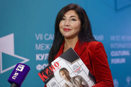 St. Petersburg, Russia - November 15, 2018: Russian TV presenter, reporter, and editor in chief of The Kinoreporter Maria Lemesheva present the first issue of the magazine during Saint-Petersburg International Cultural Forum Редакционное
