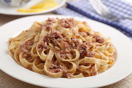 Russian pasta Navy Style closeup 免版税图像