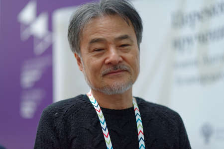 St. Petersburg, Russia - November 17, 2018: Kiyoshi Kurosawa, Japanese film director, scriptwriter, writer, professor talks with press during Saint-Petersburg International Cultural Forum