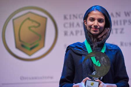 St. Petersburg, Russia - December 30, 2018: Women World Rapid and Blitz Chess Vice Champion Sarasadat Khademalsharieh, Iran during award ceremony of King Salman World Rapid and Blitz Chess Championships 2018