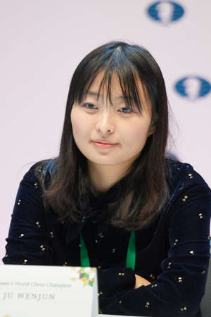 St. Petersburg, Russia - December 25, 2018: Women World Chess Champion Ju Wenjun, China on the press conference dedicated to opening of King Salman World Rapid And Blitz Chess Championships 2018