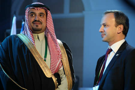 St. Petersburg, Russia - December 25, 2018: Arkady Dvorkovich, FIDE President (right) and Prince Fahd bin Jalawi bin Abdul Aziz, executive director at the Saudi Arabian Olympic Committee during opening ceremony of King Salman World Rapid and Blitz Chess C