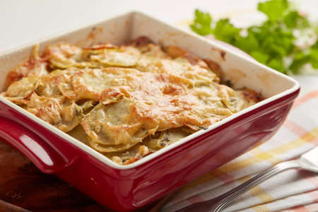 Potatoes a la dauphinoise in a baking dish