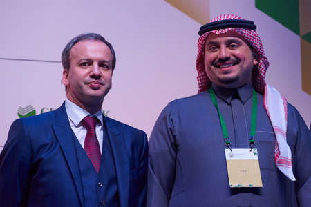 St. Petersburg, Russia - December 30, 2018: Arkady Dvorkovich, FIDE President (left) and Prince Fahd bin Jalawi bin Abdul Aziz, executive director at the Saudi Arabian Olympic Committee during award ceremony of King Salman World Rapid and Blitz Chess Cham