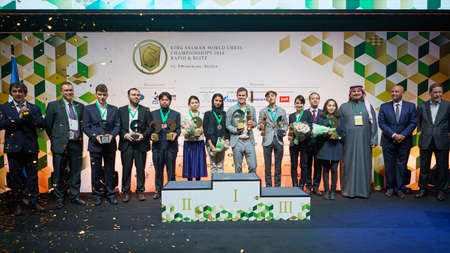 St. Petersburg, Russia - December 30, 2018: Winners of King Salman World Rapid and Blitz Chess Championships 2018 and officials during award ceremony 新聞圖片
