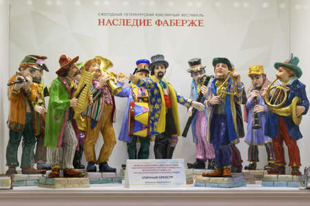 St. Petersburg, Russia - February 1, 2019: Exhibition of porcelain statuettes from private collection of Alexey Kolodko in the opening day of jewelry festival Faberge Heritage. The festival includes jewelry exhibitions, master classes, lectures, contests, Editorial