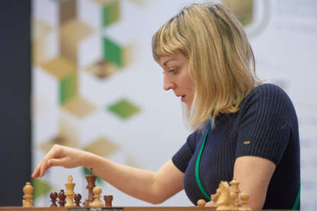 St. Petersburg, Russia - December 30, 2018: International master Elisabeth Paehtz, Germany competes in King Salman World Blitz Chess Championship 2018. Eventually she took 14th place Editorial