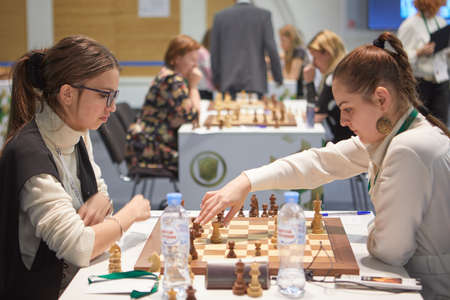 St. Petersburg, Russia - December 27, 2018: Women compete in King Salman World Rapid Chess Championship 2018. The tournament is held in Exhibition Hall Manege