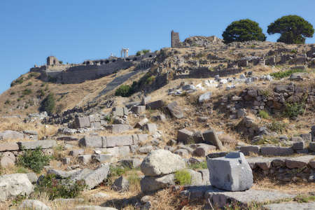 Bergama, Turkey - August 16, 2011: Ancient ruins of Upper Gymnasium in Pergamon. Since 2014, Pergamon and its Multi-Layered Cultural Landscape is listed as UNESCO World Heritage Editorial