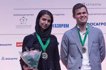 St. Petersburg, Russia - December 30, 2018: Sarasadat Khademalsharieh, Iran (left) and Magnus Carlsen, Norway, showed the best combine results in King Salman World Rapid and Blitz Chess Championships 2018