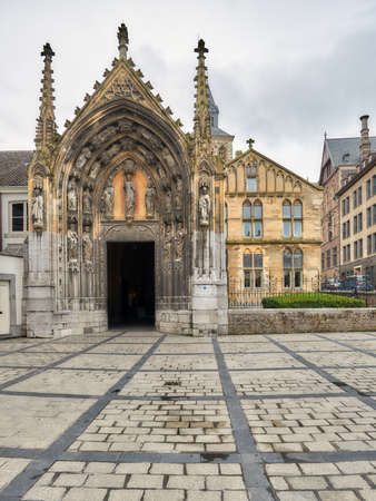 Maastricht, Netherlands - September 8, 2013: Entrance to the Basilica of Saint Servatius. The church is considered to be one of the most important religious buildings in the former Prince-Bishopric of Liege Editorial