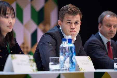St. Petersburg, Russia - December 25, 2018: World Chess Champion Magnus Carlsen, Norway on the press conference dedicated to opening of King Salman World Rapid And Blitz Chess Championships 2018