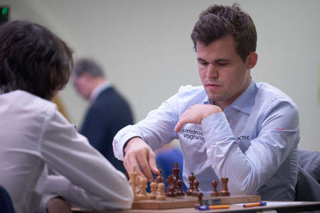 St. Petersburg, Russia - December 28, 2018: World Chess Champion Magnus Carlsen, Norway competes in King Salman World Rapid Chess Championship 2018. Eventually he took 5th place