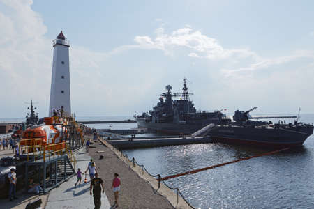 Kronstadt, St. Petersburg, Russia - July 28, 2018: Sovremenny class destroyer Bespokoyny anchored in the port of Kronstadt before the Navy Day parade. Navy Day is celebrated last Sunday of July