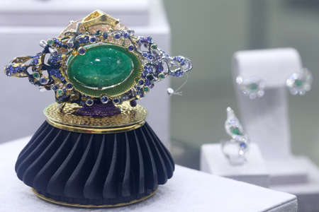 St. Petersburg, Russia - February 1, 2019: Exhibition of gemstone jewelry produced by the factory Ringo in the opening day of jewelry festival Faberge Heritage. The festival includes jewelry exhibitions, master classes, lectures, contests, etc