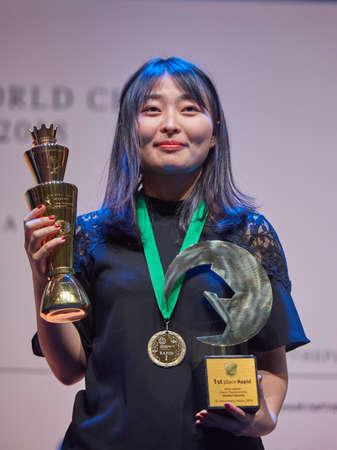 St. Petersburg, Russia - December 30, 2018: World Chess Champion Ju Wenjun, China won King Salman World Rapid Chess Championship 2018 and became World Rapid Champion