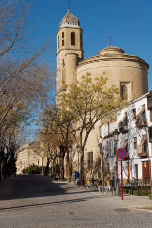 Ubeda, Spain - January 7, 2013: Street leading to Sacra Capilla del Salvador, the Chapel of the Savior. Built in 16th century, the temple is one of the symbols of this city, specially mentioned in UNESCO World Heritage description