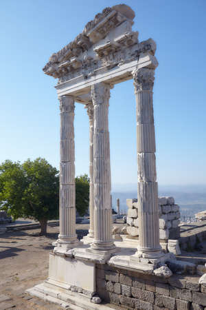Bergama, Turkey - August 16, 2011: Reconstructed fragment of the Temple of Trajan in ancient Pergamon. Since 2014, Pergamon and its Multi-Layered Cultural Landscape is listed as UNESCO World Heritage