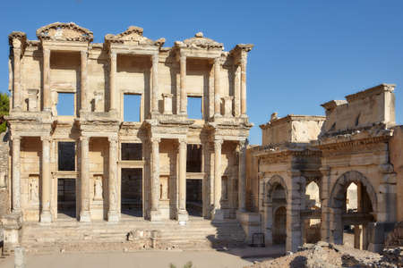 near Selcuk, Turkey - August 19, 2011: Reconstructed facade of Library of Celsus in ancient Ephesus. Since 2015, Ephesus is listed as UNESCO World Heritage site