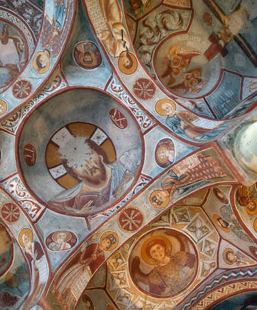 Goreme, Turkey - July 29, 2007: Ceiling frescos in Elmali Kilise, Apple church in Cappadocia. This cave church was built around 1050, and located in Goreme National Park listed as UNESCO World Heritage