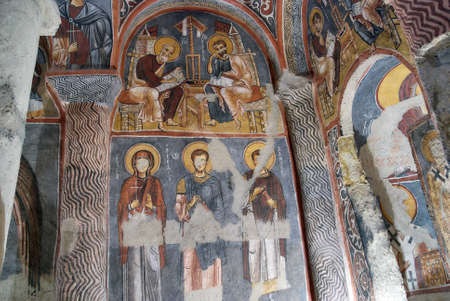 Goreme, Turkey - July 29, 2007: Ceiling frescos in Karanlik Kilise, Dark church in Cappadocia. This cave church built in 11th century, and located in Goreme National Park listed as UNESCO World Heritage Editorial
