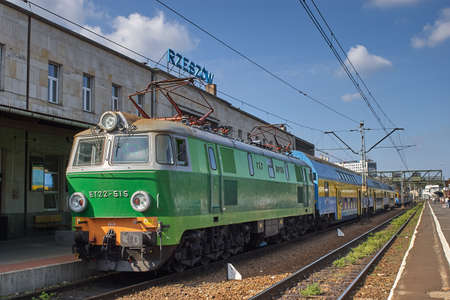 Rzeszow, Poland - August 27, 2006: Train stopped at Rzeszow Glowny railroad station. The first station in Rzeszow was built in 1858, the present complex was built after 1945