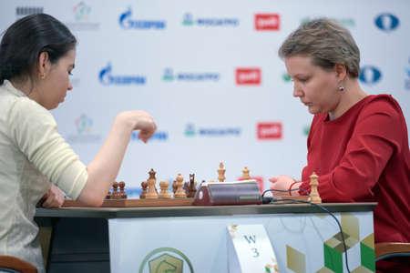 St. Petersburg, Russia - December 30, 2018: Match Valentina Gunina, Russia (right) vs Aleksandra Goryachkina, Russia during King Salman World Blitz Chess Championship 2018. Goryachkina won the match