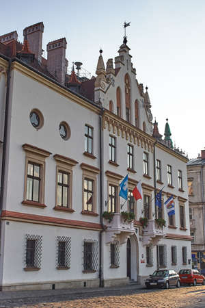 Rzeszow, Poland - August 26, 2006: Historical building of City Hall of Rzeszow. First wooden town hall existed in the 14th century, but the present building erected in the second half of the 17th century, and then few times extended