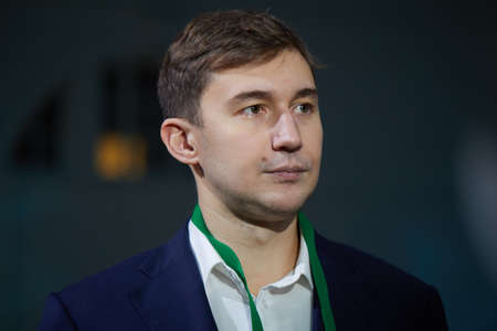 St. Petersburg, Russia - December 25, 2018: World Chess Vice-Champion Sergey Karjakin, Russia during opening ceremony of King Salman World Rapid And Blitz Chess Championships 2018