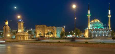 Kayseri, Turkey - July 27, 2007: Burunguz mosque and Kayseri castle on Cumhuriyet Meydani square in the night. Kayseri has outstanding Seljuk Turkish architecture Editorial