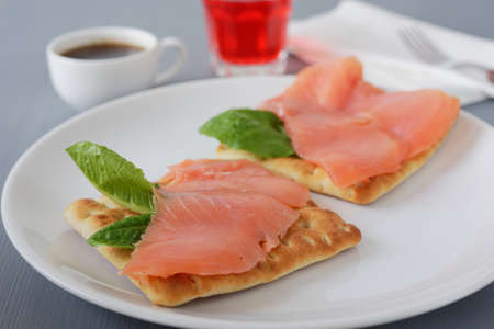 Swedish breakfast with salmon and lettuce